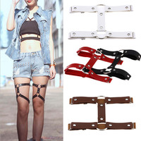 2016 New Fashion Sexy Harajuku Punk Rock Goth Double Row Sexy PU Leather Garter Belts Leg Ring Leg Chain Body Jewelry 4 color