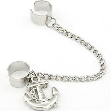 Silver Anchor Drop Ear Cuff