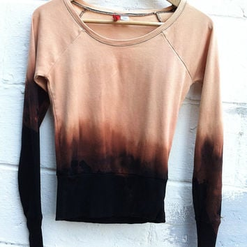 Lovely Dip Dyed Bleach Washed Ombre Wide-Neck Sweater Size S/M