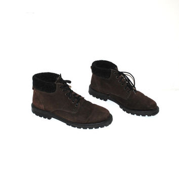 90s grunge hiking boots 1990s vintage brown suede sweater cuff lug sole lace up booties size 8