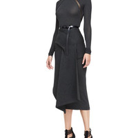 Donna Karan Long-Sleeve Turtleneck Bodysuit, Draped Jersey Skirt & Polished Calfskin Leather Belt
