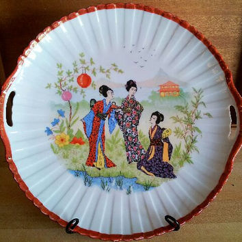 Imari Red Vintage Geisha Serving Platter with Handles Deep Dish