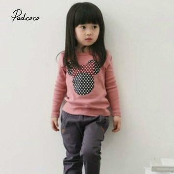 Pudcoco New Kids Toddler Clothes Girls Polka Dot Long Sleeve Casual T Shirt Blouse Tops