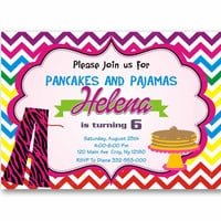 Pancakes and Pajama Colorful Chevron Kids Birthday Invitation Party Design