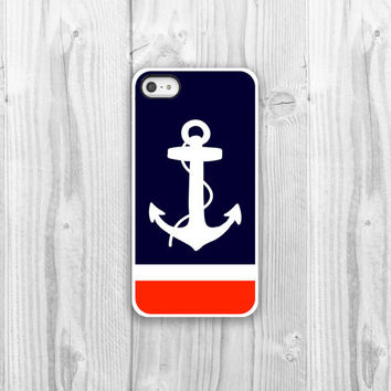 Anchor iPhone Case - iPhone 4, iPhone 4s, iPhone 5 cover - Navy Nautical Anchor Silhouette Protective Cell Phone Case