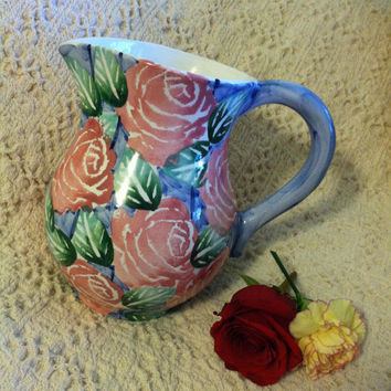 Ancora Ceramic Rose Pitcher Mid Century Italian Art Hand Painted Floral Pottery Jug Mediterranean Style Large Vase Made in Italy Numbered