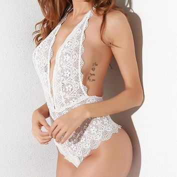 Lace Halter Backless Sexy Lingerie Teddies