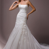 Mermaid / Trumpet Strapless Sweetheart Satin Taffeta Tulle Wedding Dress - WD5795 - US$ 239.99