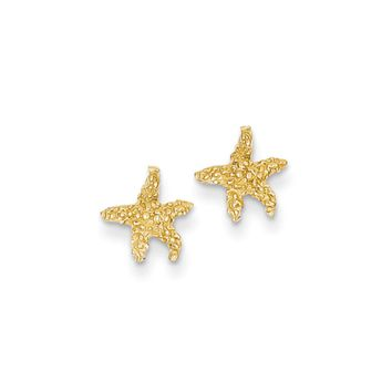 8mm Textured Starfish Post Earrings in 14k Yellow Gold