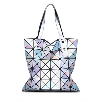 Women Handbags 2016 Fashion Laser Hologram Luxury Handbags Women Bags Designer Geometric Plaid Bag Casual Tote Top-handle Bag