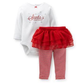 Christmas Glitter Bodysuit & Pant Set
