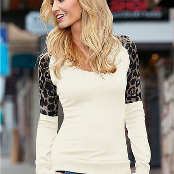 White Leopard Printed Sleeve T-Shirt