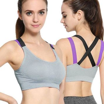 LMFGC3 Cross Strap Back Women Running Sports Bra Professional Quick Dry Padded Shockproof Elastic Running Yoga Tops Vest