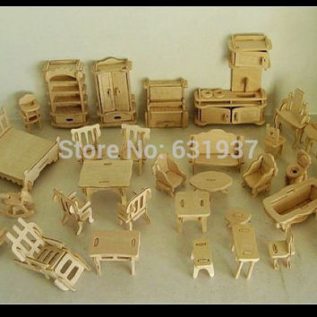 34 pcs /Set DIY 1:12 Doll House Mini Miniature Furniture  Educational Dollhouse Furniture Toy 3d Wood Puzzle Building Model Toy