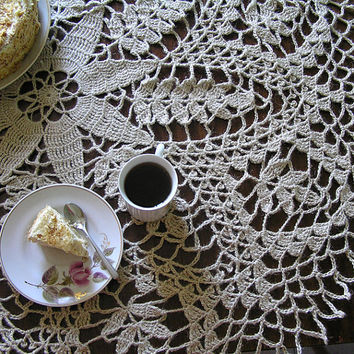 Handmade crochet tablecloth, jute-linen twine, Housewares, Table, tablecloth, Home decor, crochet lace, lace doily, Rustic, Folk, My Wealth