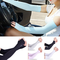 Hot New Women Girl Elasticity 1Pair Cooling Arm Sleeves UV Cover Sun Protection Motorcycle Basketball Golf Outdoor Arm Warmers