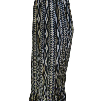 M M Couture Black / Gray / White / Tan Tribal Print Strapless Maxi Dress - Extra Small