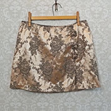 Vintage 1990s Metallic Floral + Mini Skirt