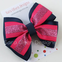 Stacked Hairbow, Double Tuxedo Bow, Basic Boutique Hairbow, Navy Blue Fuschia Pink and Sparkles, Glittery, 3.5 Inch Bow