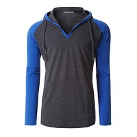 LE3NO Mens Long Sleeve Color Block Raglan Henley Shirt with Hood