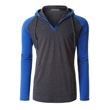 Mens Long Sleeve Color Block Raglan Henley Shirt with Hood