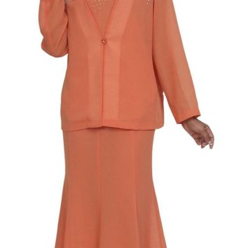 Hosanna 5037 Plus Size 3 Piece Set Orange Tea Length Dress