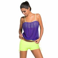Purple Lace Overly 2pcs Bandeau Tankini Swimsuit