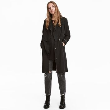 Fashion casual locomotive punk solid color long trench coat