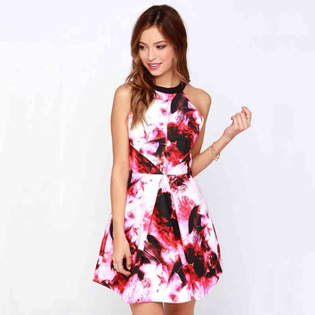 Abstract Print Cutout-Back Halter Dress