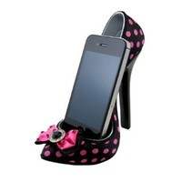Bow Polka Dot Romance Shoe Cell Phone Holder Black and Pink