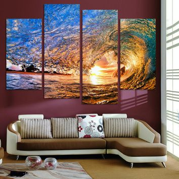 Fallout Wall Art No Frame Canvas Only 4 Pieces Sunset On The Beach With Screw Ocean Wave Wall Painting Home Decor free shipping