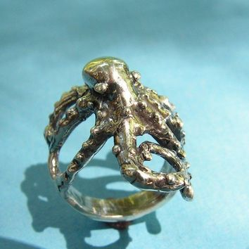 Sterling Silver Octopus Ring by westernmountain on Etsy