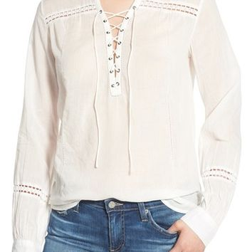 Paige Denim 'Tansy' Lace-Up Cotton Top | Nordstrom