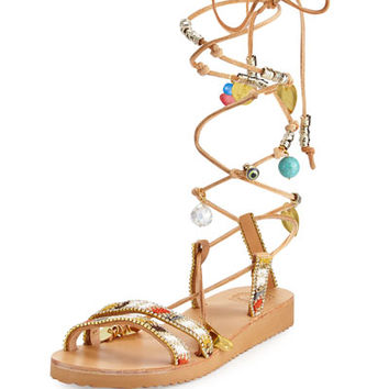 Elina Linardaki Stardust Leg-Wrap Leather Gladiator Sandal, Multi