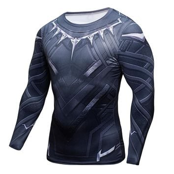 Black Panther 3D Printed T-shirts Captain America Civil War Tee Long Sleeve Cosplay Costume Fitness Clothing Compression Tops