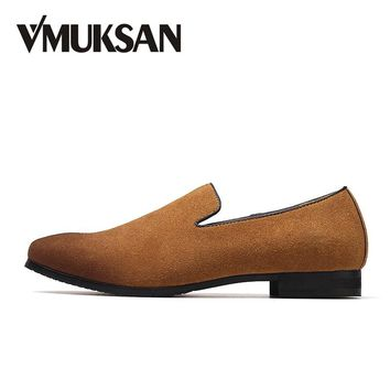 VMUKSAN Big Size 38-47 Men Formal Shoes Fashion Business Slip-On Mens Office Shoes New Italian Wedding Loafers Shoes For Man