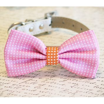 Pink Dog Bow Tie, Polka dots Pink and orange bow, Pink Lovers, Pet wedding