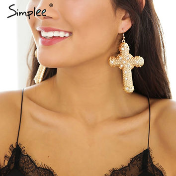 Simplee Retro drop women clothing accessories Vintage cross accessories Fashion chic gold plated big accessories
