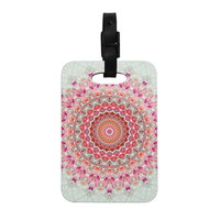 "Iris Lehnhardt ""Summer Lace III"" Circle Pink Green Decorative Luggage Tag"