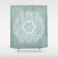"Shower Curtain - Rustic Sage and White Mandala  - 71"" by 74"" Home Decor, Bathroom, Bath, Dorm, Girl, Decor, Boho, Mandala, Hippie, Bohemian"
