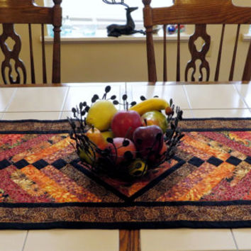 Quilted Autumn Harvest French Braid Table Runner
