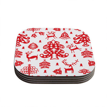 "Miranda Mol ""Frosted Landscape White"" Red Holiday Coasters (Set of 4)"