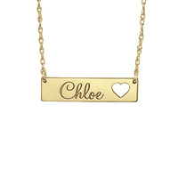 Cutout Heart Bar Name Necklace