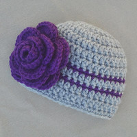 Crochet Baby Girl Hat with Flower, Newborn Photography Prop Hat, Purple and Gray