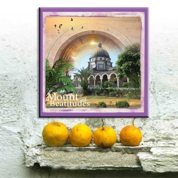 Christian Art Print, Mount of Beatitudes, Holy Land Landscape, Art From Israel, Churches Art, Canvas Art Print, Home Decor, 12'' x 12''
