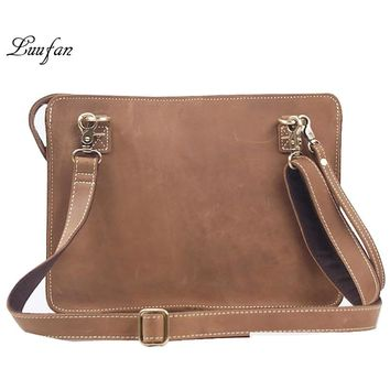 Men's Vintage crazy horse leather Messenger bag Brown iPad clutch bag with wristlet cow leather shoulder bag