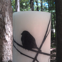 "Bird Silhouette Image 4"" Tall Print Pillar Candle Scented Homegoods Decor Bohemian Decoration Cottage Chic  Home Nature Tree"