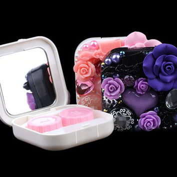3 colors New Design Resin Flower Beaded Contact Lens Case Set