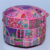 "Pink Patchwork Embroidered Indian Ottoman Floor Seating Pouf 22""X12"" on RoyalFurnish.com"