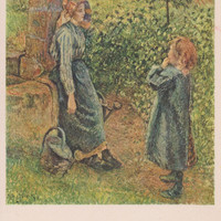 """Vintage Austrian Postcard -- Camille Pissarro """"Woman at the Well"""" -- 1950?"""